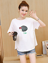 Women's Going out Casual T-shirt,Solid Print Round Neck Short Sleeves Polyester