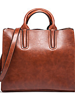 Women Bags All Seasons PU Tote Zipper for Casual Formal Black Brown Dark Brown Wine