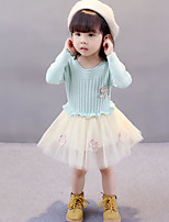 Girl's Solid Dress Winter Fall Lace Blushing Pink Light Green