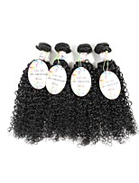 Unprocessed Brazilian Bundle Hair Curly Hair Extensions 4 Pieces Black