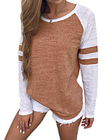Women's Daily T-shirt,Solid Round Neck Long Sleeves Polyester