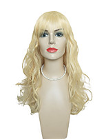 Women Synthetic Wig Capless Long Deep Wave Blonde With Bangs Celebrity Wig Halloween Wig Cosplay Wig Natural Wigs Costume Wig