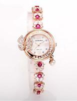 SINOBI Per donna Orologio braccialetto Orologio da polso Quarzo Resistente all'acqua imitazione diamante Lega Banda Argento Rosa