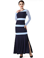 SUOQI Women's Going out Casual/Daily Simple Bodycon Sheath Swing DressStriped Round Neck Maxi Long Sleeves Polyester Fall Winter Mid Rise