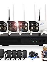 yanse® 4ch sans fil nvr kits 720p étanche ir vision nocturne wifi caméra ip système de sécurité