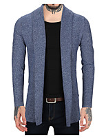 Men's Casual/Daily Simple Active Regular Cardigan,Solid Color Block Shirt Collar Long Sleeves Linen Spring Fall Medium Micro-elastic