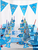 Birthday New Baby Party Accessories-Hats Tableware Sets Kitchen Tools Ornaments Patterned Plastics Paper Beach Theme Nautical Fairytale