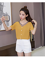 Women's Casual/Daily Simple Blouse,Solid V Neck Half Sleeves Cotton