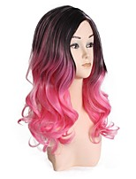 Women Synthetic Wig Capless Medium Length Curly Black/Blue Black/Pink Layered Haircut Lolita Wig Party Wig Halloween Wig Natural Wigs