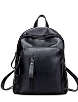 Unisex Bags All Seasons PU Backpack Buttons Zipper for Casual Black