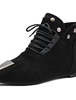 Women's Shoes PU Fall Winter Combat Boots Boots Low Heel Pointed Toe Mid-Calf Boots Lace-up For Casual Black