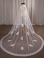 One-tier Wedding Veil Chapel Veils With Applique Lace Tulle Wedding Accessories