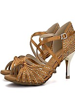 Women's Latin Satin Heel Professional Rhinestone Crystal High Heel Black Brown Red 2