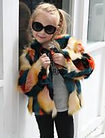 Девочки Куртка / пальто Шерсть Кроличий мех Мех енота Пэчворк Осень Зима Длинный рукав