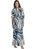 Women's Plus Size Casual/Daily Street chic Loose Dress,Striped One Shoulder Maxi Half Sleeves Cotton Polyester Fall Mid Rise Stretchy Thin