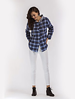 Women's Daily Holiday Street chic Shirt,Plaid Hooded Long Sleeves Polyester