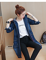 Women's Holiday Casual/Daily Cute Street chic Fall Denim Jacket,Solid Hooded Long Sleeve Regular Polyester