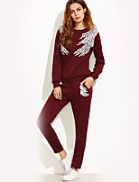 Women's Daily Sports Street chic Winter Fall Hoodie Pant Suits,Print Hooded Long Sleeve Cotton