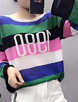 Feminino Camiseta Para Noite Simples Listrado Algodão Decote Redondo Manga Curta
