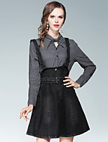 EWUS Women's Going out Casual/Daily Street chic Shirt Dress,Striped Print Shirt Collar Knee-length Long Sleeves Polyester Fall Mid Rise