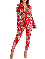 Women's Holiday Going out Vintage Boho Spring Fall Shirt Pant Suits,Sexy Printing Shirt Collar Long Sleeve Bow Polyester Micro-elastic