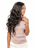 cheap -Women Human Hair Lace Wig Brazilian Remy Glueless Lace Front 130% Density With Baby Hair Wavy Wig Medium Brown Dark Brown Black Dark Black