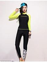 Per donna Asciugatura rapida Spandez Scafandro Manica lunga Top Pantaloni-Spiaggia Sport acquatici Snorkeling Inverno Collage