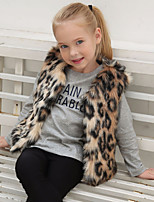 Girls' Leopard Jacket & Coat,Wool Rabbit Fur Raccoon Fur Fall Winter Sleeveless
