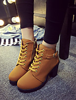 Women's Shoes PU Winter Fashion Boots Boots Chunky Heel Round Toe Booties/Ankle Boots For Casual Black Brown Green