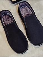 Hombre Zapatos Tejido Otoño Invierno Suelas con luz Zapatos de taco bajo y Slip-On Para Casual Negro