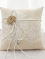 lacets ruban fleur (s) arc satin anneau de soie oreillers cérémonie de mariage