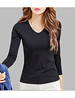 Women's Daily Spring Fall T-shirt,Solid V Neck Long Sleeves Cotton Polyester Medium
