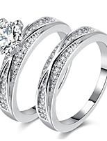 Homens Mulheres Anéis Grossos Anel de noivado Zircônia Cubica Zircão Liga Forma Redonda Forma Geométrica Jóias Para Casamento Festa