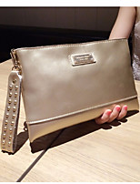 Women Bags All Seasons Cowhide Clutch Zipper for Casual Silver Black Gold