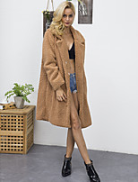 Women's Going out Casual/Daily Work Simple Vintage Active Fall Winter Fur Coat,Solid Notch Lapel Long Sleeve Long Faux Fur Polyester