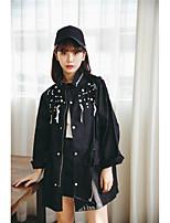 Women's Daily Simple Casual Fall Trench Coat,Print Shirt Collar Long Sleeve Regular Cotton