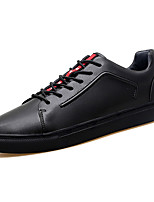 Men's Shoes Real Leather Fall Comfort Sneakers Lace-up For Outdoor Red Black White