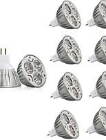 10 pcs 3W MR16 LED Spotlight MR16 3 leds High Power LED Decorative Warm White Cold White 250lm 2200-6500K AC/DC 12V