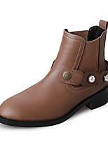 Women's Shoes PU Fall Fashion Boots Boots Chunky Heel Round Toe Rivet For Casual Brown Black