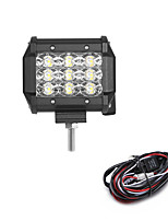 27W 2700LM 6000K 3-Rows LED Work Light Cool White Flood Offroad Driving Light for Car/Boat/Headlight IP68 9-32V  2m 1-To-1 Wiring Harness Kit