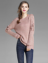 EWUS Women's Going out Casual/Daily Street chic Regular Pullover,Solid Round Neck Long Sleeves Polyester Fall Medium Stretchy
