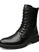 Men's Shoes Real Leather Cowhide Winter Fashion Boots Motorcycle Boots Bootie Combat Boots Boots Mid-Calf Boots Lace-up For Casual Outdoor