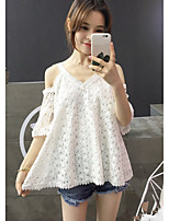 Women's Holiday Going out Cute Summer T-shirt,Solid V Neck Short Sleeves Cotton Polyester Spandex Medium