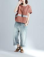 T-shirt Da donna Casual Semplice A strisce Monocolore Rotonda Cotone Lino Manica corta