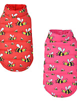 Cat Dog Vest Dog Clothes Casual/Daily Cartoon Red Pink Costume For Pets