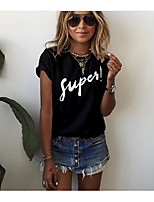Women's Daily Sports Casual Summer T-shirt,Letter Round Neck Short Sleeves Cotton Thin