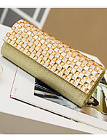 Women Bags All Seasons PU Clutch Zipper for Casual Silver Gold