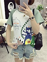 Women's Going out Cute Summer T-shirt,Print Round Neck Short Sleeves Cotton