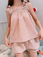 Women's Casual/Daily Cute Summer Tank Top Pant Suits,Plaid/Check Strapless Sleeveless