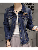 Women's Casual/Daily Simple Fall Denim Jacket,Solid Shirt Collar Long Sleeve Regular Cotton Polyester